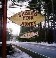 smoked fish honey (lawatt) Tags: fish newyork film sign polaroid yum honey catskills slr680 smokedfish bearsville 779