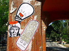 (Adriana Verolla) Tags: street light brazil streetart pasteup art monster brasil trash bowie sticker flickr gallery arte photos stickers centro cash fotos lamb monsters rua goinia combo gois pasteups adesivos adesivo grude lambe zebrinha 18kk18