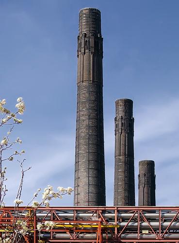 Anheuser-Busch Brewery, in Saint Louis, Missouri, USA - smokestacks