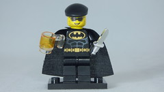 Brick Yourself Custom Lego Figure Beer, Beret, Batman & Knife Enthusiast
