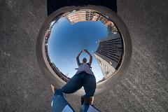 Raise Your Hands (Harri_1970) Tags: street blue sky white selfportrait reflection art shirt ball suomi finland turku metallic jeans sphere åbo pallo kuula metalli olympuspenep1 kulttuuripääkaupunki2011