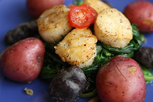 Seared Scallops with Boiled Potatoes and Sauteed Ramps