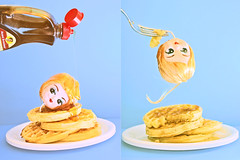 Eat It Doll Up! (boopsie.daisy) Tags: blue food silly strange breakfast weird yummy crazy diptych funny doll pretty sticky tasty fork stack blond bite syrup waffles wacky bizarre quirky dollhead kooky headonastick auntjemima bradleydoll 10faves
