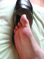 06 (SlipperJean) Tags: feet leather barefoot barefeet slippers