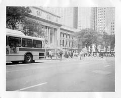 New York Public Library (Xylographile) Tags: nyc newyorkcity trees blackandwhite bw newyork bus car mediumformat polaroid traffic manhattan library midtown fifthavenue instantphotography 40thstreet polaroidlandcamera polaroid660 peelapartfilm instandfilm