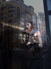 shy girl (Xelya) Tags: city urban reflection window girl shop digital buildings edificios model grunge ciudad shy urbana reflejos escaparate maniqu maniques xelyah xelya