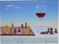 Schach (La Bourdonnais  McDonnell) (dirkgue) Tags: stillleben himmel glas acryl tischdecke malerei rotwein schach leinwand gemlde schachbrett weinglas realismus realistisch schachfiguren acrylmalerei dirkgnther