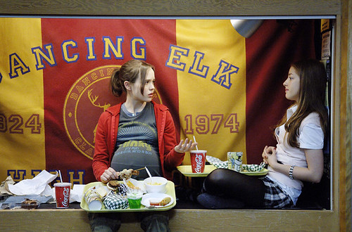 Ellen Page (L) and Olivia Thirlby discuss the woes of high school pregnancy in 'Juno'.