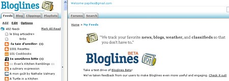 Copie d'écran Bloglines