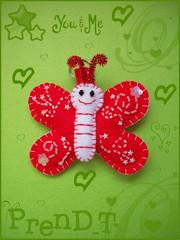 Mariposita regalo Swap Blanco y Rojo  (PrenD-T) Tags: handmade felt borboleta feltro mariposa llavero chaveiro fieltro prendt