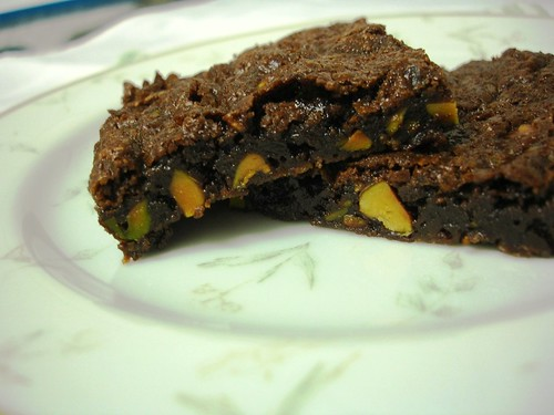 Chocolate and pistachio brownies