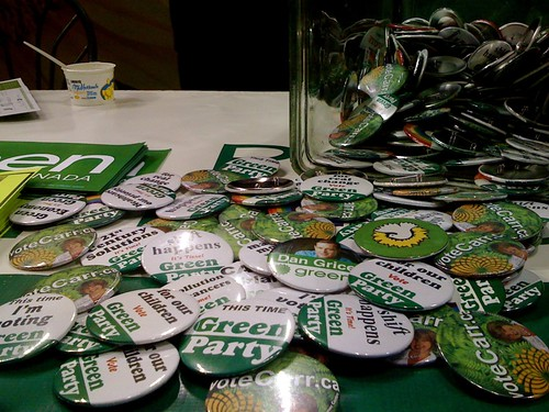 Green Party Buttons - They're out in full force recruitment mode