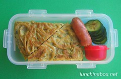 Pasta frittata bento lunch for preschooler
