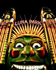 Luna Park HDR (y_k_197) Tags: ocean longexposure autumn light sea colour reflection building fall face night scary harbour sydney australia nsw fancy lunapark operahouse harbourbridge hdr