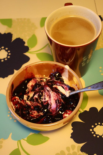 greek yogurt, preserves, coffee