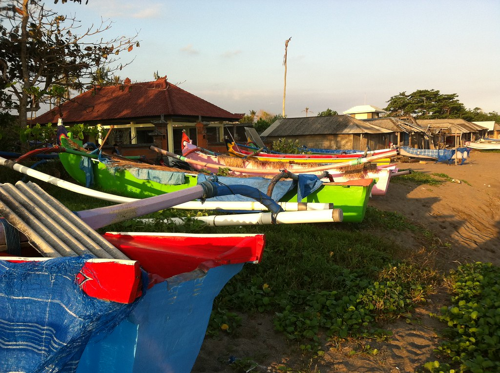 Beached fishing boats at Nelayan, Canggu, Bali