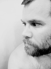 Day 336: 2007 10 11 (CraftyGuy) Tags: bear shirtless blackandwhite bw hairy selfportrait man male men art me self myself fur beard furry artistic bare chest 365 selfpic year1 day336 descamisado 365days threesixfive sansshirt threesixtyfive flickr:user=craftyguy