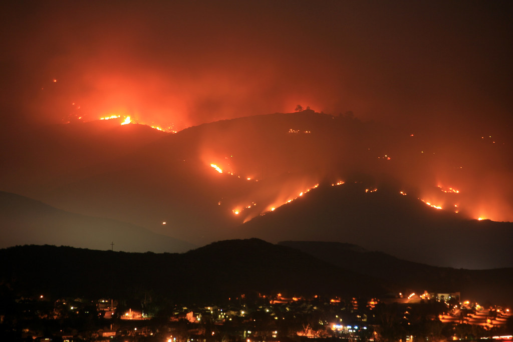 Mt. San Miguel continues to burn.  San Diego wildfires.
