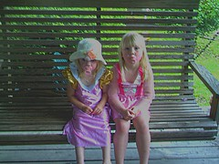 Daisy and Delaney playing dress up (fishin widow) Tags: family girls sisters children dressup pjlaying