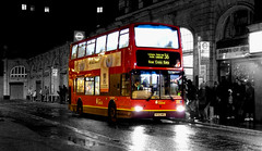 Victoria (Nicobobinus) Tags: 2003 red bw colour bus london westminster night boxingday victoria route 36 selective sw1 cityofwestminster victoriabusstation sw1v