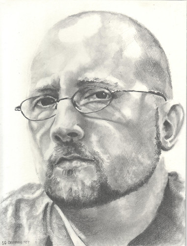 Graphite drawing entitled Self Portrait III