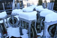 Poulies sous la neige