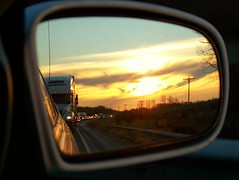 They paved paradise... (J-Fish) Tags: thanksgiving road sunset sky reflection car clouds truck mirror highway driving traffic rearviewmirror newyorkstate trafficjam thruway z612 kodakz612
