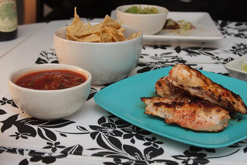 cayenne chicken, chips, salsa