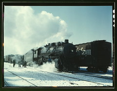 Santa Fe R.R. freight train about to leave for...