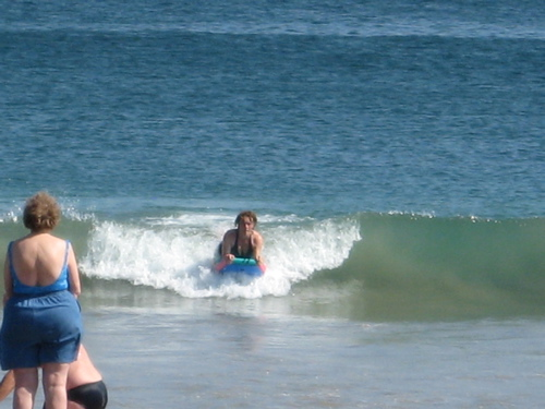 Tia on the wave at Tenacatita beach