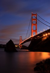 Golden Gate (A Sutanto) Tags: sf sanfrancisco california ca bridge sky usa reflection clouds lights twilight bravo dusk towers icon goldengatebridge goldengate bluehour soe ggb outstandingshots flickrsbest abigfave platinumphoto anawesomeshot superbmasterpiece diamondclassphotographer