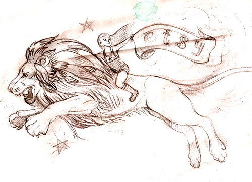 'Sketch of Etsy lion' - SheRidesTheLion.com on Flickr
