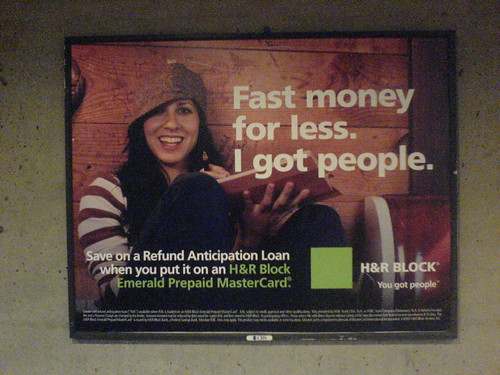 a poster advertising refund anticipation loans from HRblock