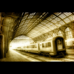 Antwerp Central (Dimitri Depaepe) Tags: light station sepia train bravo central loveit antwerp hdr antwerpen orton firstquality superbmasterpiece theunforgettablepictures