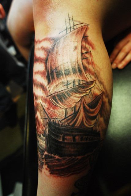 Pirate Ship tattoo. Tattoo done by Donald Purvis at Asgard Ink tattoo studio