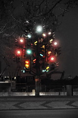 Traffic Light Tree (hurworld) Tags: christmas blue red tree green london trafficlight nikon traffic roundabout docklands canarywharf colouring selective d300 isleofdogs pierrevivant
