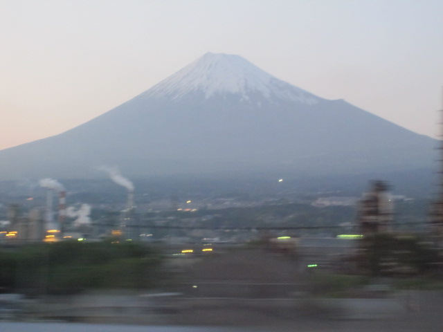 Mont Fuji viewed from the speeding Shinkansen