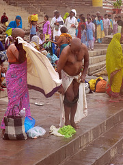 Removing Trunks 2 (amiableguyforyou) Tags: india men up river underwear varanasi bathing dhoti oldmen ganges banaras benaras suriya uttarpradesh ritualbath hindus panche bathingghats ritualbathing langoti dhotar langota