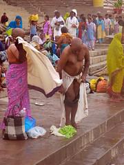 Removing Trunks 2 (amiableguyforyou) Tags: india men up river underwear varanasi bathing dhoti oldmen ganges banaras benaras suriya uttarpradesh ritualbath hindus panche bathingghats ritualbathing langoti dhotar langota