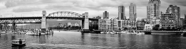 Black and White Burrard Bridge Panorama