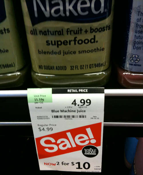 Whole Foods sale: 2 for $10, regular price $4.99