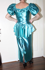 turquoise liquid satin tight hobble dress (sheerglamour) Tags: fetish tv dress heels satin hobble