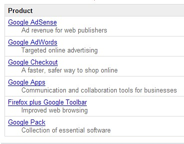 Google AdSense Referrals: Google Products