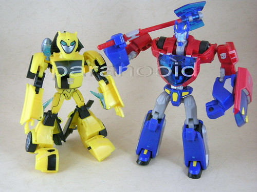 Bumblebee y Optimus Prime Animated modo robot