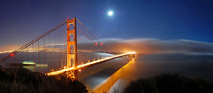 Golden Gate & Full Moon, Panorama (Tyler Westcott) Tags: sanfrancisco california longexposure bridge shadow moon reflection fog night marin explore goldengatebridge goldengate moonlight marinheadlands nikond40 diamondclassphotographer flickrdiamond