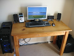 My Desk (William Hook) Tags: desktop wood tower computer pc junk desk benq nine g5 hundred 900 logitech antec z5500 g15 fp92w