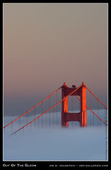 Out of the Gloom: Golden Gate Bridge and Fog (jimgoldstein) Tags: sanfrancisco california bridge sunset tower fog golden gate goldengatebridge fv10 blueribbonwinner supershot abigfave jmggalleries anawesomeshot aplusphoto jimmgoldstein superbmasterpiece