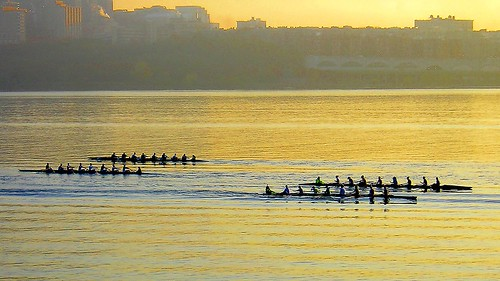 Rowing at Dawn on the Hudson River