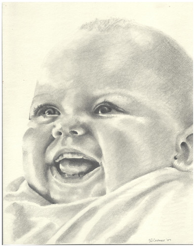 Graphite portrait or an infant entitled Eve