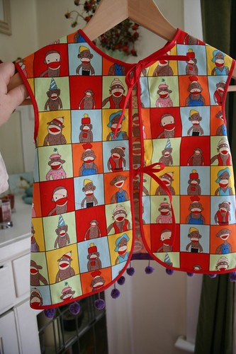 sock monkey apron back